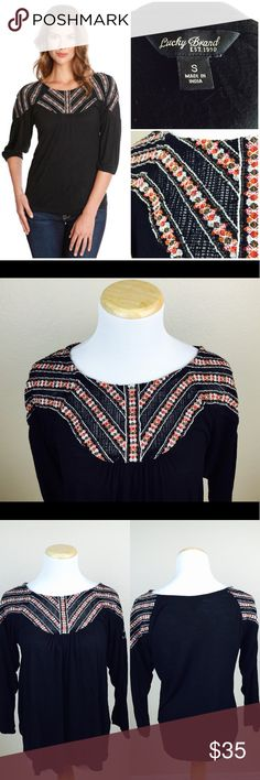 "Lucky Brand Embroidered Neckline Boho Peasant Top From Lucky Brand. Preowned in good condition. Has beautiful embroidery of neckline. Black top. Sleeves: 18"". Length: 23"". Pit to pit: 17"". Elastic on cuffs. Soft flowy material. Fits a 34"" bust. Lucky Brand Tops"