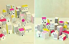 fabriquer-calendrier-Avent-petites-boîtes-maisons-décoratives-couleurs