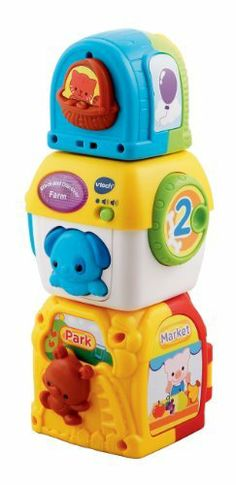 VTech Stacking Animal Squares by V Tech. $13.99. The block featuring the puppy recognizes other blocks to create 24 unique stories. Electronic learning toy teaches animals, counting, colors and more. Blocks inlude manipulative elements to strengthen fine motor skills. Each block has at least three sides of learning elements. Baby stacking toy enhanced by electronic features. From the Manufacturer                The VTech Stacking Animal Squares are fun, interactive sta...