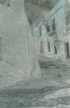 Ibiza Old Town - Pre-sightloss artwork by Arthur Ellis