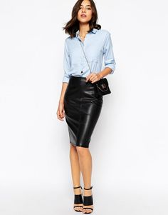 d852a30058 ASOS   Online Shopping for the Latest Clothes & Fashion. Faux Leather  Pencil SkirtBlack ...