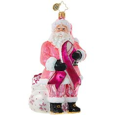 Christopher Radko Breast Cancer Santa Ornament ($56) ❤ liked on Polyvore featuring home, home decor, holiday decorations, no color, father christmas ornaments, santa ornaments, hot pink home decor, santa claus ornaments and pink ornaments