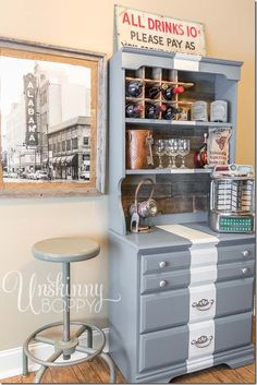 DIY Serving bar with painted stripe and reclaimed wood.  Check out the old Coke crate turned wine rack!