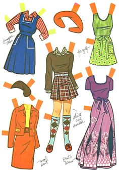 Now and Then Paper Dolls, 1976 Lowe #3715 (4 of 8), fashions of 1890s, 20s, 40s, and 70s