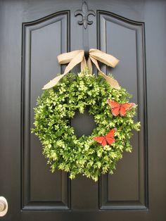 Spring Decor - Burlap Bow - Boxwood Wreath - Door Wreaths - Monarch Butterflies - Summer Decor - Summer Wreath. $75.00, via Etsy.