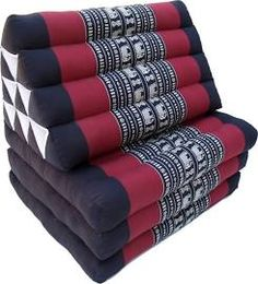 Thaikissen, Dreieckskissen, Kapok, Tagesbett Mit 3 Auflagen   Schwarz/rot,  30x50x180