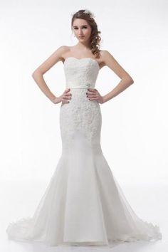 GEORGE DESIGN Amazing Mermaid Strapless Belt Beaded Appliques Organza Wedding Dress Size 10 Ivory GEORGE BRIDE,http://www.amazon.com/dp/B00B7WB9CS/ref=cm_sw_r_pi_dp_k1cnrb0X8XEY15CM