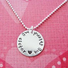 sterling silver sister necklace  ready to ship by juliethefish, $30.00