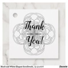 Black and White Elegant Scrollwork Thank You Favor Tags #favor #tags #favortags #thankyoutags #ad #blackandwhite #elegant