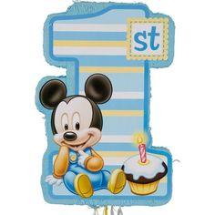 Pull String 1st Birthday Mickey Mouse Pinata