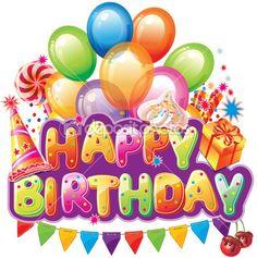Testo buon compleanno con elementi del partito — Vettoriali Stock © wikki33 #18518923