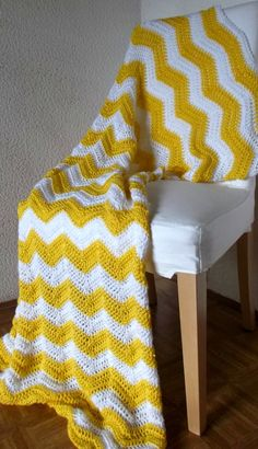 Crochet Blanket Afghan chevron -  $120.00, via Etsy | Perfect for snuggling in the reading nook