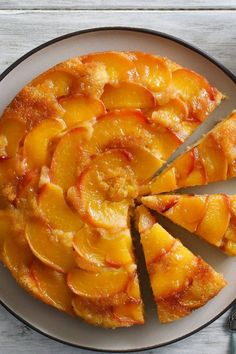 NYT Cooking: Peaches shine in this 1988 recipe. Ripe slices are coated with caramelized sugar, then a batter enhanced with just a bit of nutmeg. It's ready in 30 minutes, perfect for those warm days when turning on the oven feels impossible. Weight Watcher Desserts, Food Cakes, Cupcake Cakes, Cupcakes, Just Desserts, Dessert Recipes, Peach Cake Recipes, Recipes With Peaches, Breakfast Recipes