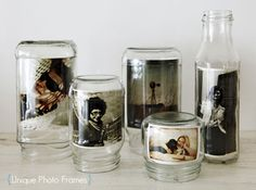 Mason jar photo frames - awesome for outdoor living space decorating!