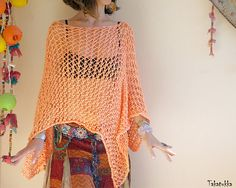 Summer knit  Summer Top Women poncho Loose Knit Poncho