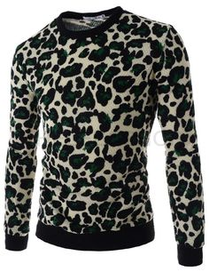 (WIST21-GREEN) Mens Slim Round Neck Camouflage Patterned Long Sleeve Knitted Tshirts