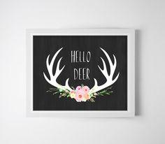 Hello Deer - Wall decor, Antler deer art, dear floral antler deer by OnlyPrintableArts