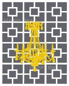 Chandelier Art, Nixon Pattern - Modern Art Prints, Chandelier Silhouette. $14.00, via Etsy.