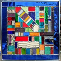 Multicolored square geometric stained glass panel | Flickr - Photo Sharing!