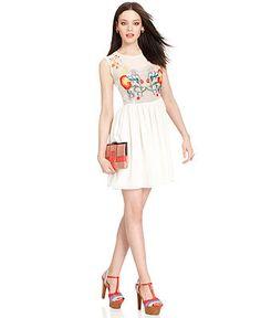 Bar III Dress, Sleeveless High-Neck Floral-Embroidered A-Line - Dresses - Women - Macys
