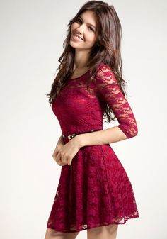 Mesh Heart Lace Dress - Red @LookBookStore