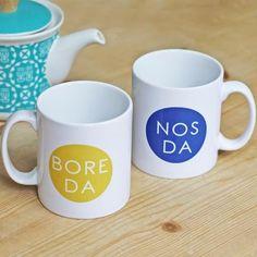 Items similar to Mug - Bore Da / Nos Da - Good Morning / Good Night on Etsy Welsh Lady, Welsh Gifts, Welsh Blanket, Love Spoons, Mug Printing, Good Morning Good Night, Midnight Blue, Morning Coffee, Cocoa