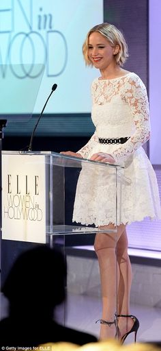 10/21/14. Just last night, actress Jennifer Lawrence wore one of Oscar's more casual designs to ELLE's 21st Annual Women in Hollywood Celebration at the Four Seasons Hotel in Beverly Hills, California