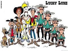 Rantanplan, Billy the Kid, Calamity Jane, Jolly Jumper, Lucky Luke & les frères Dalton Lucky Luke & Jolly Jumper (by Morris) Dalton Lucky Luke, Bd Lucky Luke, Comic Book Characters, Comic Character, Character Design, Comic Books, Bd Comics, Funny Comics, Cartoon Crazy