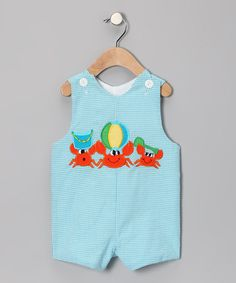 Take a look at this Blue Seersucker Beach Crab Shortalls - Infant & Toddler by Lollypop Kids Clothing & Wish Upon a Star on #zulily today!