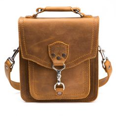 leather front pocket pouch small in tobacco leather