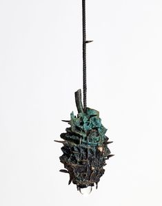 Maritima Cordatus (Small Sea Heart) Patinated bronze, lead crystal ball, electrical wiring, stainless steel, LED fixture 34 x 21 x 47 cm Edition of 5 + 1 AP Kenyan Artists, Walnut Timber, Stained Table, Led Fixtures, Black Chandelier, Electrical Wiring, Stoneware Clay, Crystal Ball, Natural World