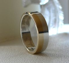 14 Karat Gold and Silver Wedding Band  His by ModernistaJewelry, $295.00
