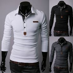 Men Casual Long-sleeved Shirts Man Slim Fit Simple Design Polo T-Shirt XS,S,M