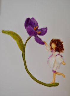 Violet Flower Fairy Nadel Filz Waldorf Puppe von MagicWool auf Etsy