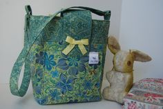 Quilted Cotton Diaper Bag in Blue and Green Floral Print by bebag, $60.00