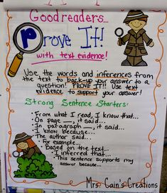 Citing Text Evidence Like a Text Detective anchor chart! - -PROVE IT! Citing Text Evidence Like a Text Detective anchor chart! - - Homonyms and Homophones Evidence Anchor Chart, Citing Text Evidence, Writing Anchor Charts, Teaching Writing, Student Teaching, Teaching Ideas, Teaching Posters, Teaching Outfits, 4th Grade Reading
