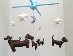 Dachshund Mobile  Baby Mobile  Baby Decor  by WeenieWarmers at www.WeenieWarmers.etsy.com