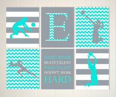 teen girl gift volleyball girl wall art volleyball room decor teen girl wall art set of 6 choose your colors and sports - Volleyball Bedroom Decor