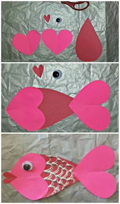 Valentine's Day Craft of a Heart Fish for kids by Emel