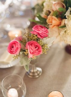 Pink and Peach Reception Flower Arrangements | photography by http://www.beauxartsphotographie.com/