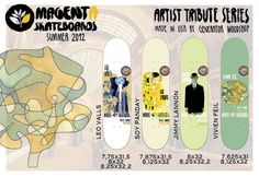 MAGENTA SUMMER 2012 PRO BOARDS | Magenta has a grip of new boards for Summer. Its new pro board series is called Artist Tribute as each pro board features art director Soy Panday's take on a piece by an artist who's work, life and/or personality has inspired Magenta. The artists featured are Gustav Klimt, Paul Klee, René Magritte and Hokusai.