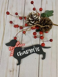 Dachshund Through the Snow Printed Handmade Wood Christmas Ornament Small Sign