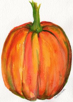 Pumpkin watercolors paintings original, Vegetable wall art 5 x 7 inches,  kitchen decor, watercolor paintings original by SharonFosterArt on Etsy