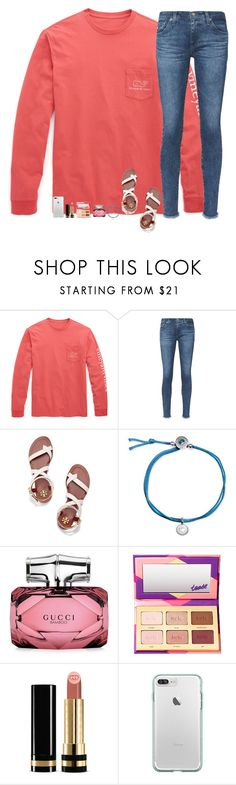 """""""It's Friday!!"""" by sweet-n-southern ❤ liked on Polyvore featuring Vineyard Vines, AG Adriano Goldschmied, Tory Burch, Alex Woo, Gucci and tarte"""