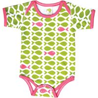 short sleeved bodysuit - kiwi fish with pink- Christmas in July sale - all tees and bodysuits 2 for $25! (retail $30-$32) #organiccotton #backtoschool #madeinusa