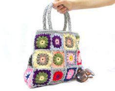 ON SALE // Crochet bag // Handmade bag, Shoulder bag, Granny square bag, Crochet purse, Women Handbag
