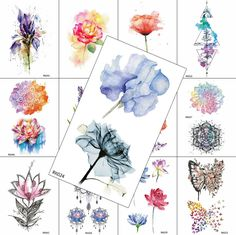 Watercolor Flower Temporary Tattoos Fashion Sticker For Women Girls Fake Quality Tattoo Decal Body Art Painting Arm Tatoos Sheet - Tattoo Design Diy Tattoo, Mountain Designs, Mountain Tattoo, Flower Bird, Tatoos, Henna Tattoos, Flower Tattoos, Temporary Tattoos, Black Tattoos