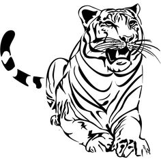 "Sitting Tiger Style #2 Vinyl Wall Art Decal 48"" x 46"" $48.99 Vinyl Wall Art, Vinyl Decals, Ninja Gear, Cute Animals, Style, Pretty Animals, Swag, Cutest Animals, Cute Funny Animals"