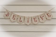 BELIEVE Burlap Banner  Great Holiday Card by MountainBirdBanners