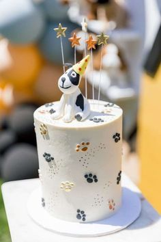 Check out this adorable puppy-themed birthday party! Love the cake! See more party ideas and share yours at CatchMyParty.com